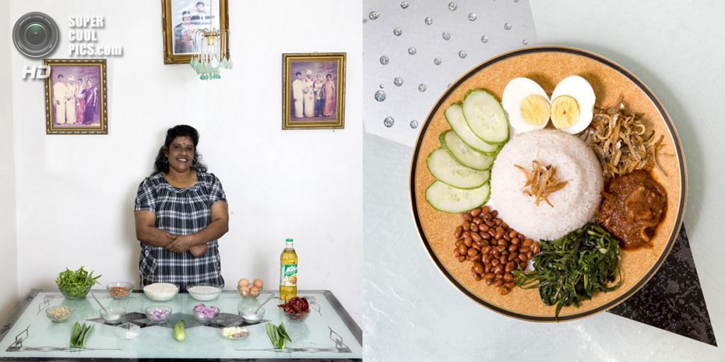 Малайзия. Куала-Лумпур. Блюдо: Рис, вымоченный и сваренный в кокосовом молоке, вареное яйцо, жареные сушеные анчоусы и овощи. (Gabriele Galimberti)