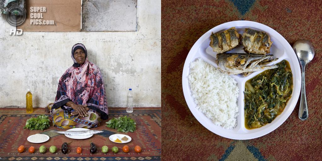 Занзибар. Бубубу. Блюдо: Рыба, рис и овощи под соусом из зеленого манго. (Gabriele Galimberti)