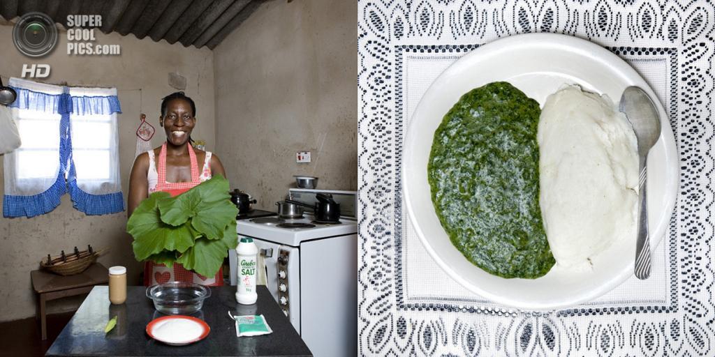 Зимбабве. Виктория-Фоллс. Блюдо: Пюре из листьев тыквы с арахисовым маслом и каша из белого маиса. (Gabriele Galimberti)