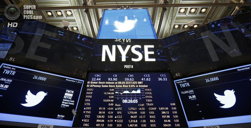 США. Нью-Йорк. 7 ноября. Перед началом IPO Twitter на Нью-Йоркской фондовой бирже. (REUTERS/Lucas Jackson)