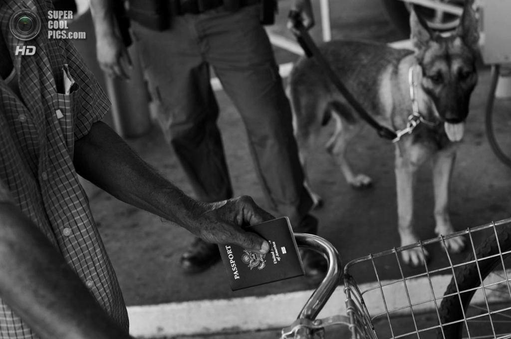 США. Ларедо, Техас. Мужчина с американским паспортом в руке пересекает американо-мексиканскую границу на велосипеде под бдительным оком американского пограничного патруля с собакой-ищейкой. (Louie Palu/ZUMA Press)