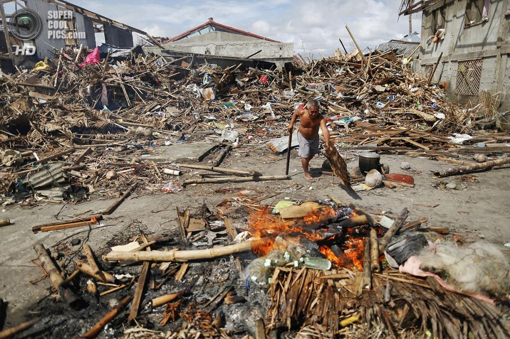 Филиппины. Танауан, Лейте. 20 ноября. Мужчина сжигает мусор, оставшийся на месте деревни после тайфуна «Хайян». (REUTERS/Damir Sagolj)