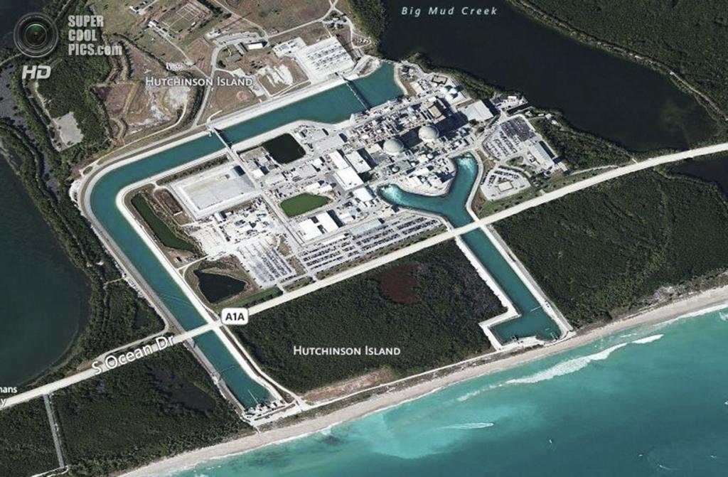 США. Форт-Пирс, Флорида. Схема атомной электростанции Сент-Луси, управляемой компанией Florida Power & Light. (Greg Lovett/The Palm Beach Post)