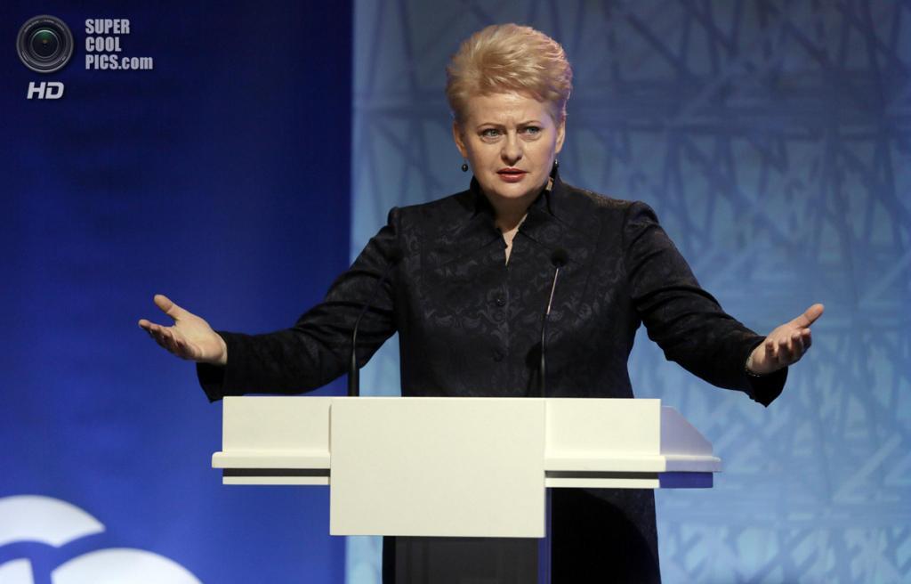 Литва. Вильнюс. 29 ноября. Во время выступления президента Литвы Далеи Грибаускайте. (AP Photo/Virginia Mayo)