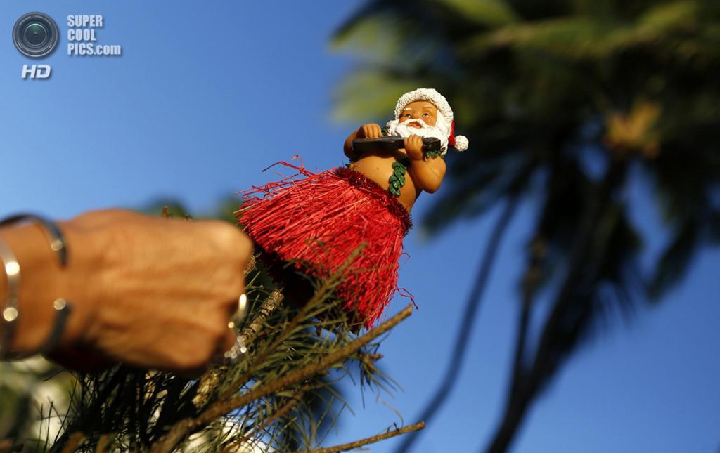 США. Гонолулу, Гавайи. 25 декабря. Гавайский Санта-Клаус на рождественской ёлке. (REUTERS/Kevin Lamarque)
