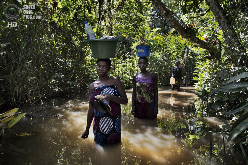 Центральноафриканская Республика. Нджо, Уам. 5 ноября. Женщины идут вброд по реке с вёдрами питьевой воды, которую они несут в лагерь для беженцев-христиан. (Marcus Bleasdale/VII)