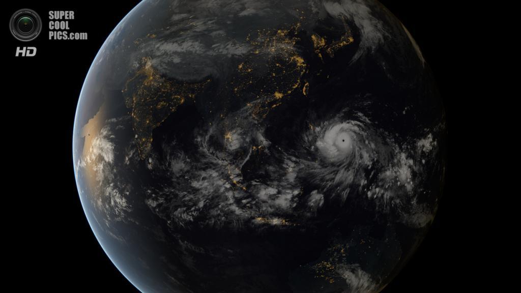 7 ноября. Снимок Земли со спутника во время буйства тайфуна «Хайян» на Филиппинах. (Japan Meteorological Agency) — Пост на сайте