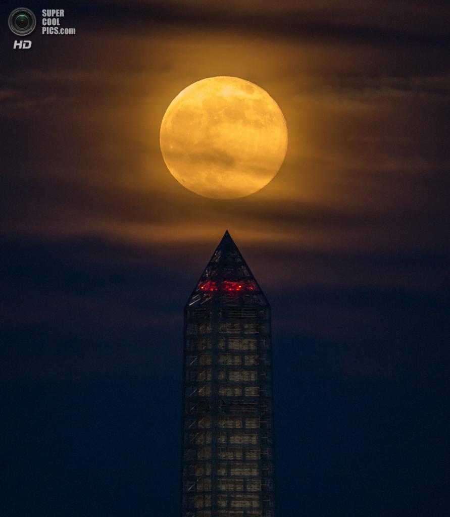 США. Вашингтон, округ Колумбия. 23 июня. Монумент Вашингтона на фоне суперлуния. (NASA/Bill Ingalls) — Пост на сайте