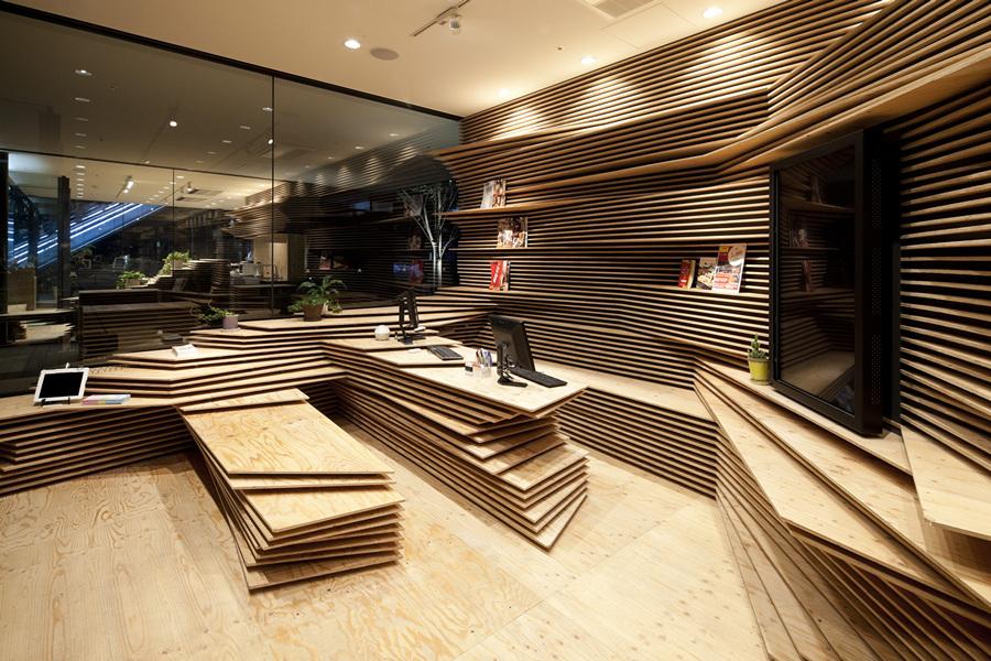 Слоёный интерьер Shun*Shoku Lounge (8 фото)