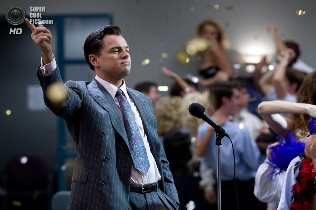 Номинант на премию «Лучшая мужская роль» Леонардо Ди Каприо. Американский актёр, сыгравший Джордана Белфорта в фильме «Волк с Уолл-стрит». (Кадр из фильма)