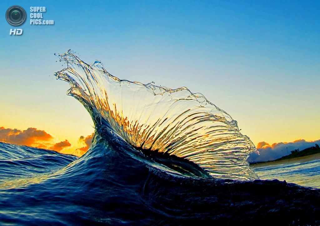 «Марлин». Кадр один на миллион. Две волны столкнулись, подняв столб воды в форме спинного плавника марлина перед восходящий солнцем. (Clark Little)