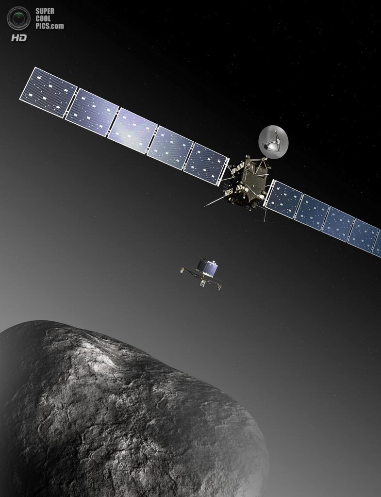 Художественное представление космического аппарата «Розетта» и спускаемого модуля «Филы» у кометы 67P/Чурюмова — Герасименко. (ESA/C. Carreau/ATG medialab)