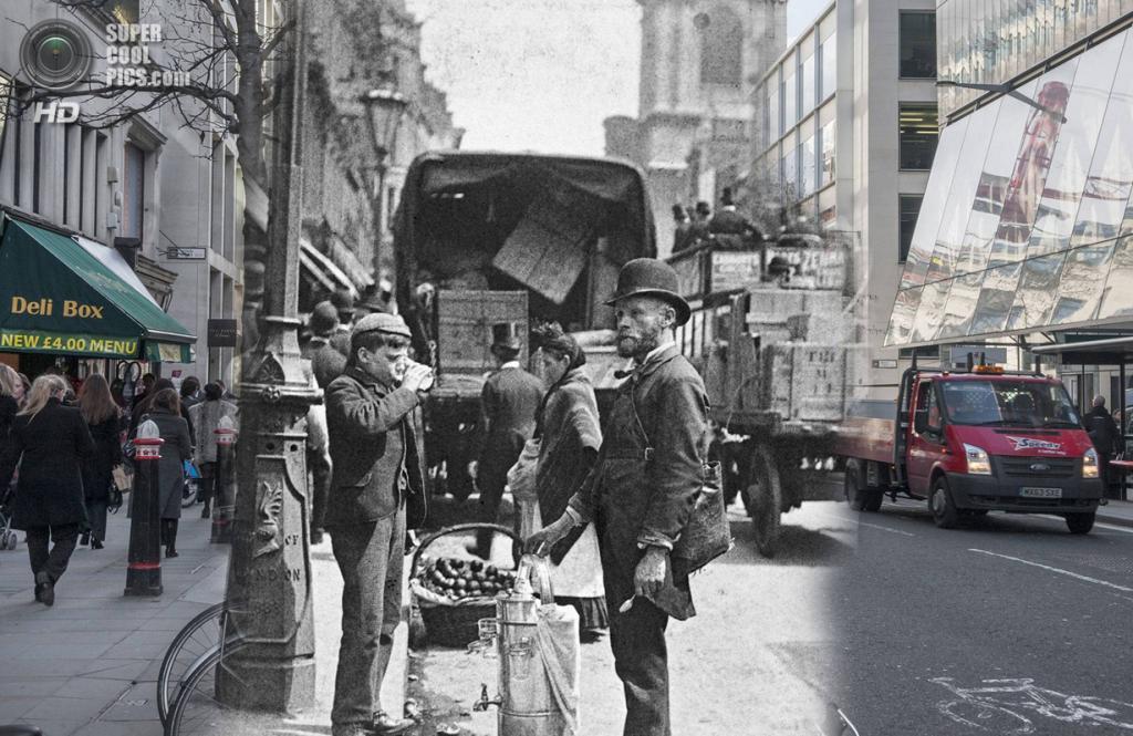 Великобритания. Лондон. 1893—2014. Продавец шербета и воды. (Museum of London/Streetmuseum app)