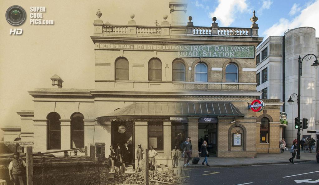 Великобритания. Лондон. 1868—2014. Станция метро «Глостер-роуд». (Museum of London/Streetmuseum app)