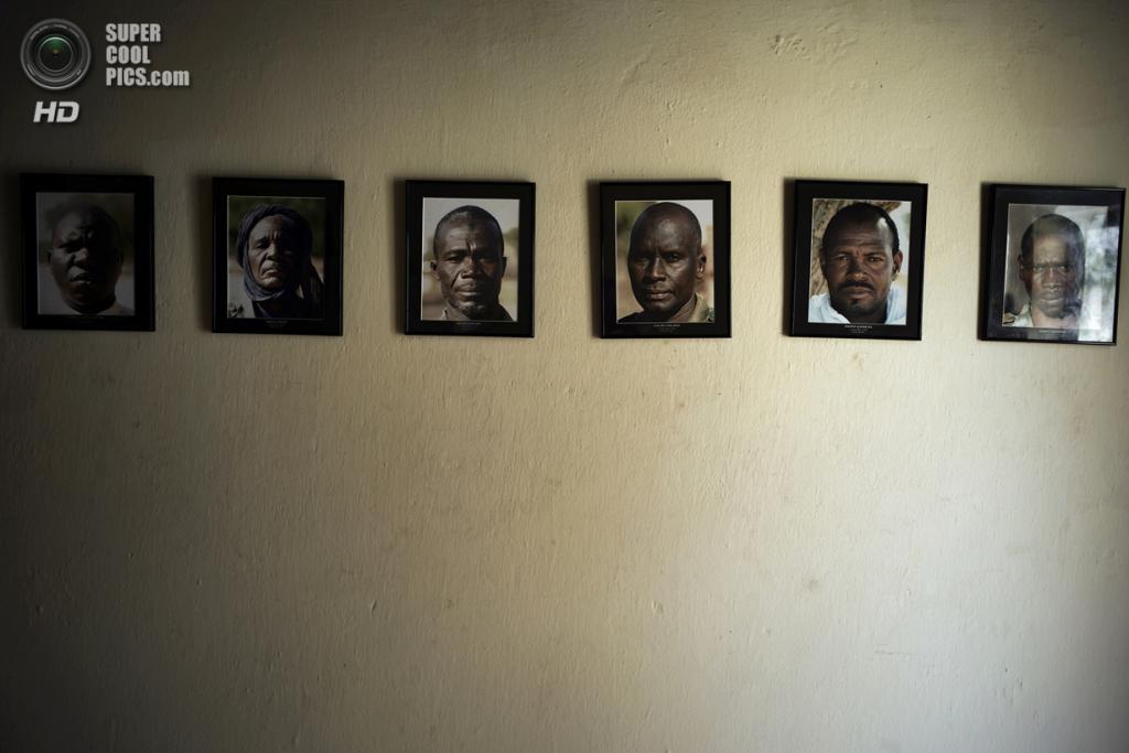 Чад. Гоз-Джарат, Саламат. 20 февраля. Портреты рейнджеров национального парка Закума, которые были убиты браконьерами — охотниками за слоновой костью. (MARCO LONGARI/AFP/Getty Images)