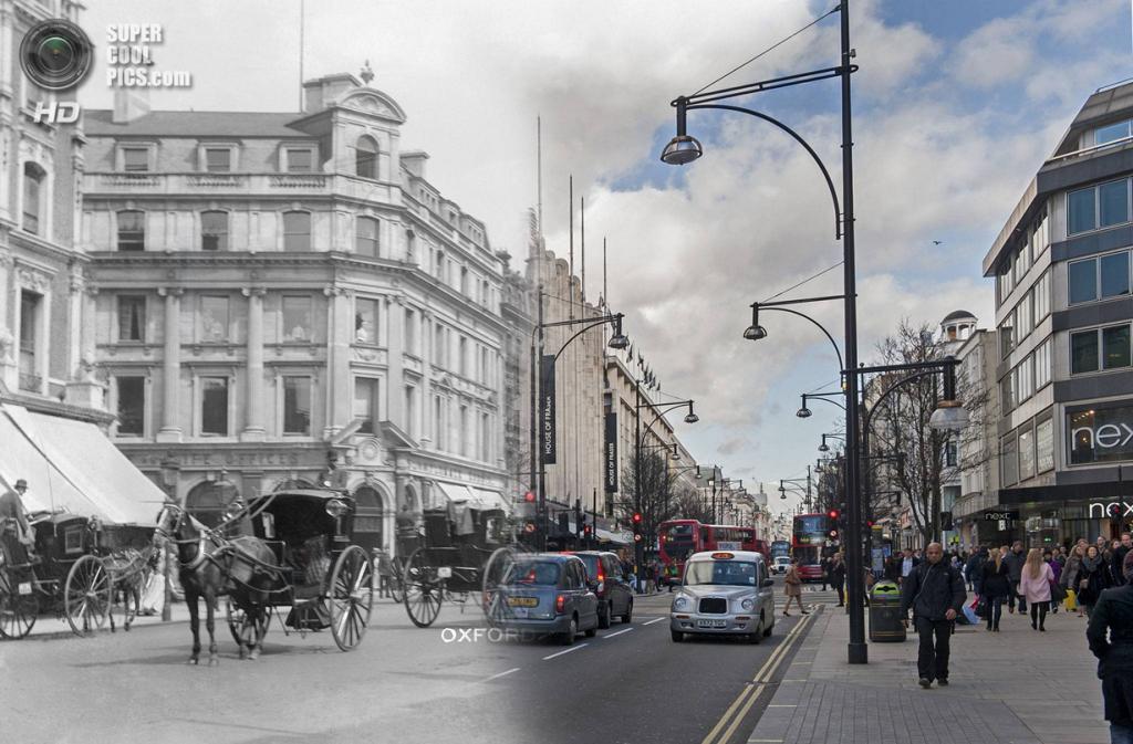 Великобритания. Лондон. 1905—2014. Трафик на Оксфорд-стрит. (Museum of London/Streetmuseum app)