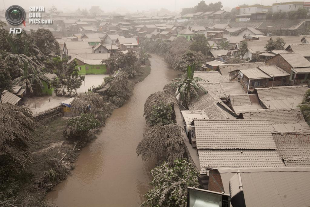 Индонезия. Джокьякарта. 14 февраля. Жилой район, покрытый вулканическим пеплом после извержения Келуда. (Reuters/Dwi Oblo)