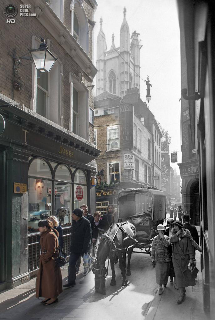 Великобритания. Лондон. 1930—2014. Улица Чипсайд. (Museum of London/Streetmuseum app)