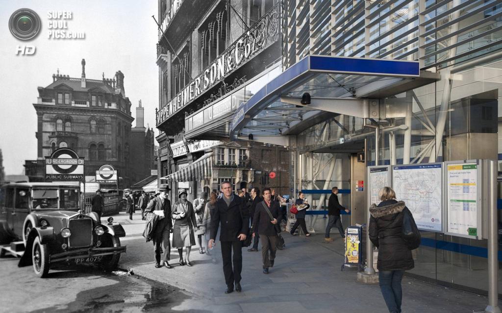 Великобритания. Лондон. 1930—2014. Вход на железнодорожную станцию «Блэкфрайерс». (Museum of London/Streetmuseum app)