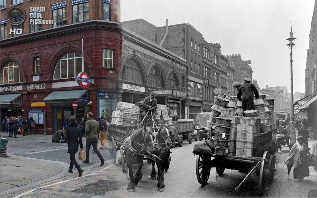 Великобритания. Лондон. 1930—2014. Ковент-Гарден. (Museum of London/Streetmuseum app)
