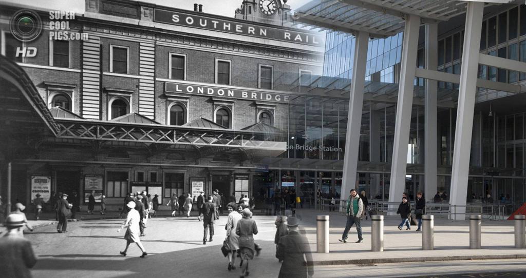 Великобритания. Лондон. 1930—2014. Привокзальня площадь у Лондонского моста. (Museum of London/Streetmuseum app)