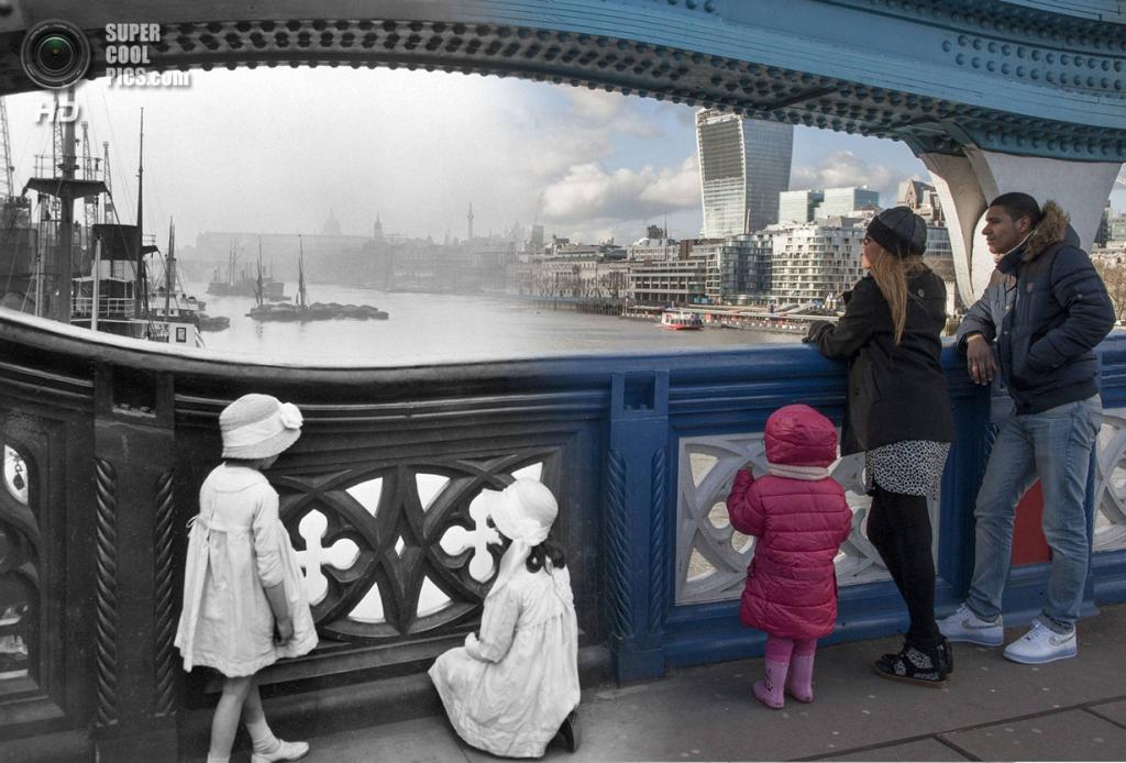 Великобритания. Лондон. 1930—2014. Тауэрский мост. (Museum of London/Streetmuseum app)