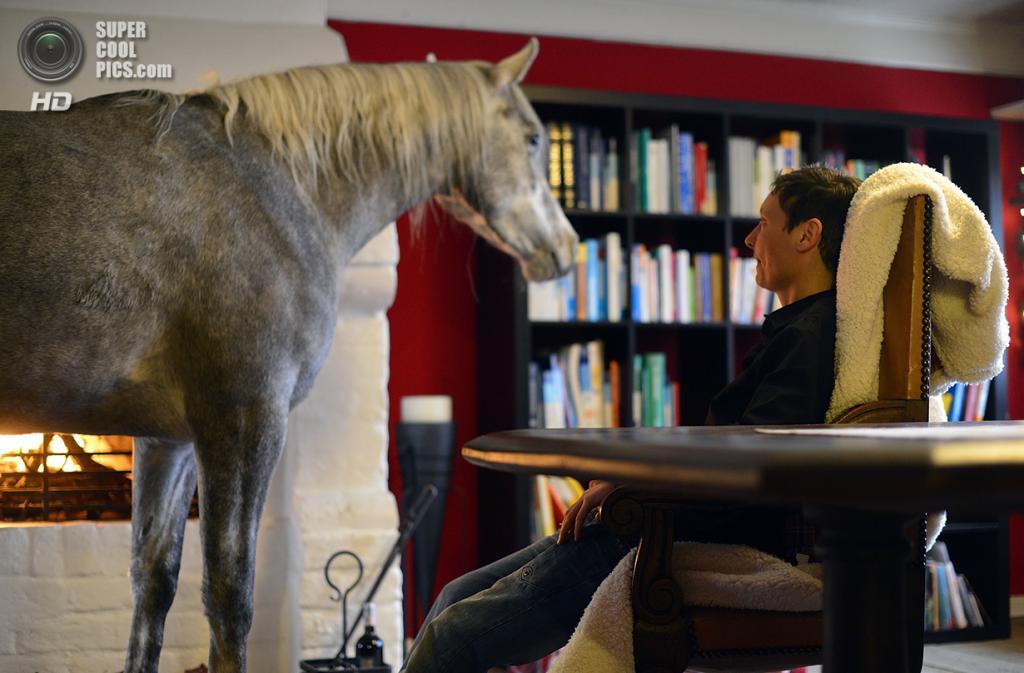 Германия. Хольт, Шлезвиг-Гольштейн. 19 февраля. Назар со Стефани в гостиной. (Patrick Lux/Getty Images)