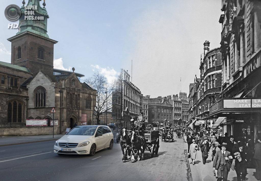 Великобритания. Лондон. 1930—2014. Байуорд-стрит у холма Тауэр-Хилл. (Museum of London/Streetmuseum app)
