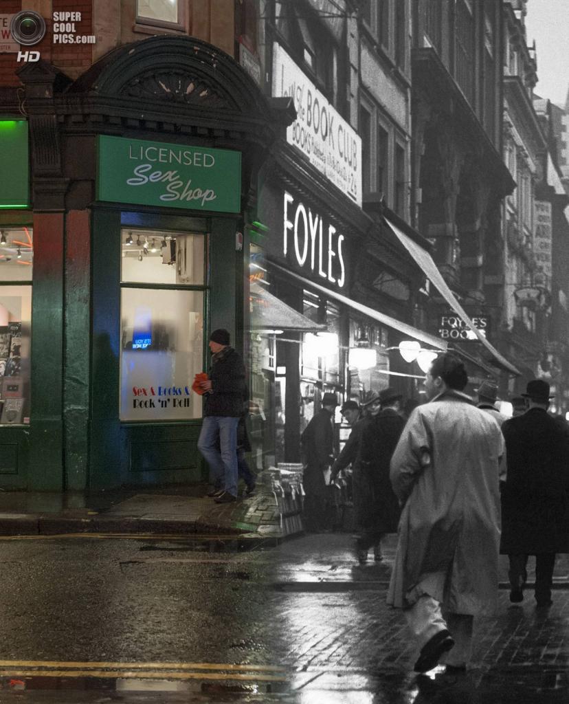 Великобритания. Лондон. 1935—2014. Вечерняя сцена у книжного магазина Foyles. (Museum of London/Streetmuseum app)