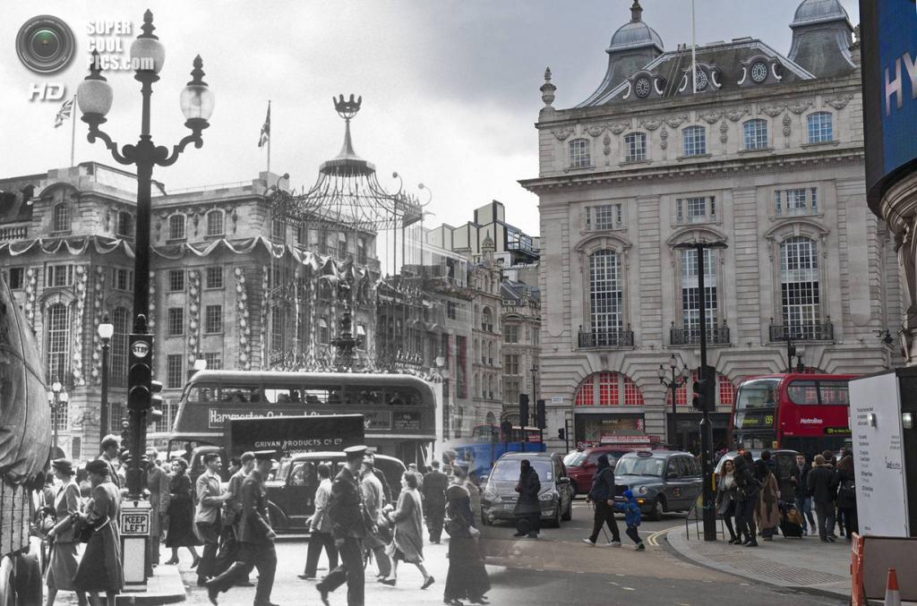 Великобритания. Лондон. 1953—2014. Площадь Пикадилли. (Museum of London/Streetmuseum app)