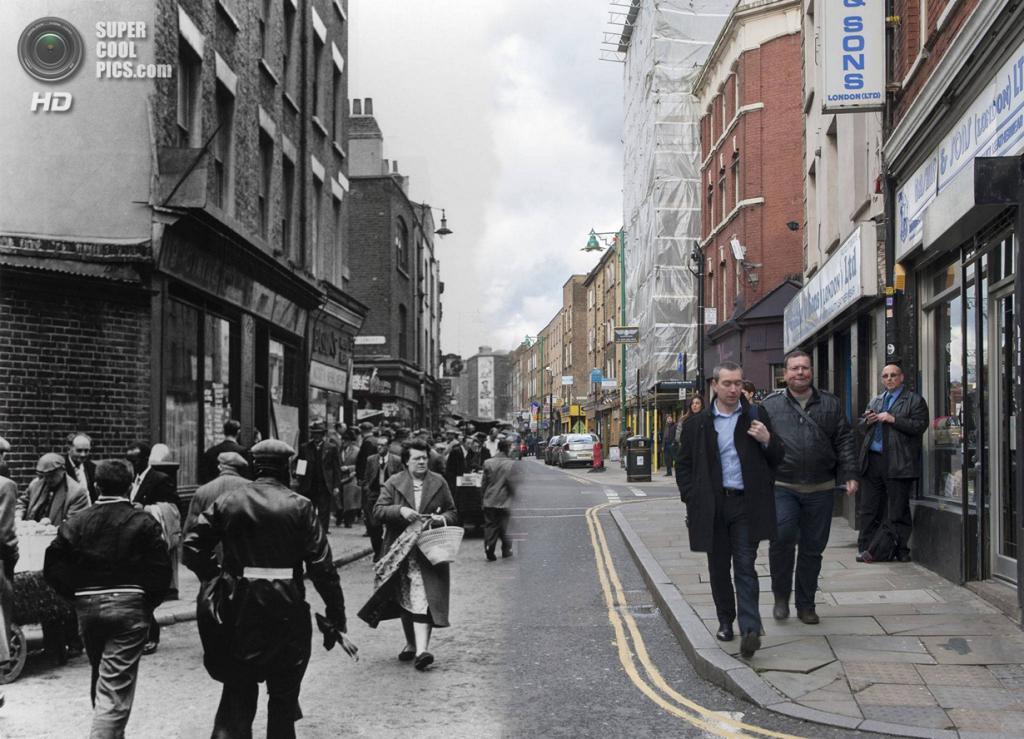 Великобритания. Лондон. 1957—2014. Улица Брик-Лейн в Ист-Энде. (Museum of London/Streetmuseum app)