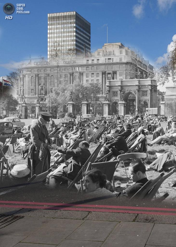 Великобритания. Лондон. 1956—2014. Отдыхающие в Гайд-парке. (Museum of London/Streetmuseum app)
