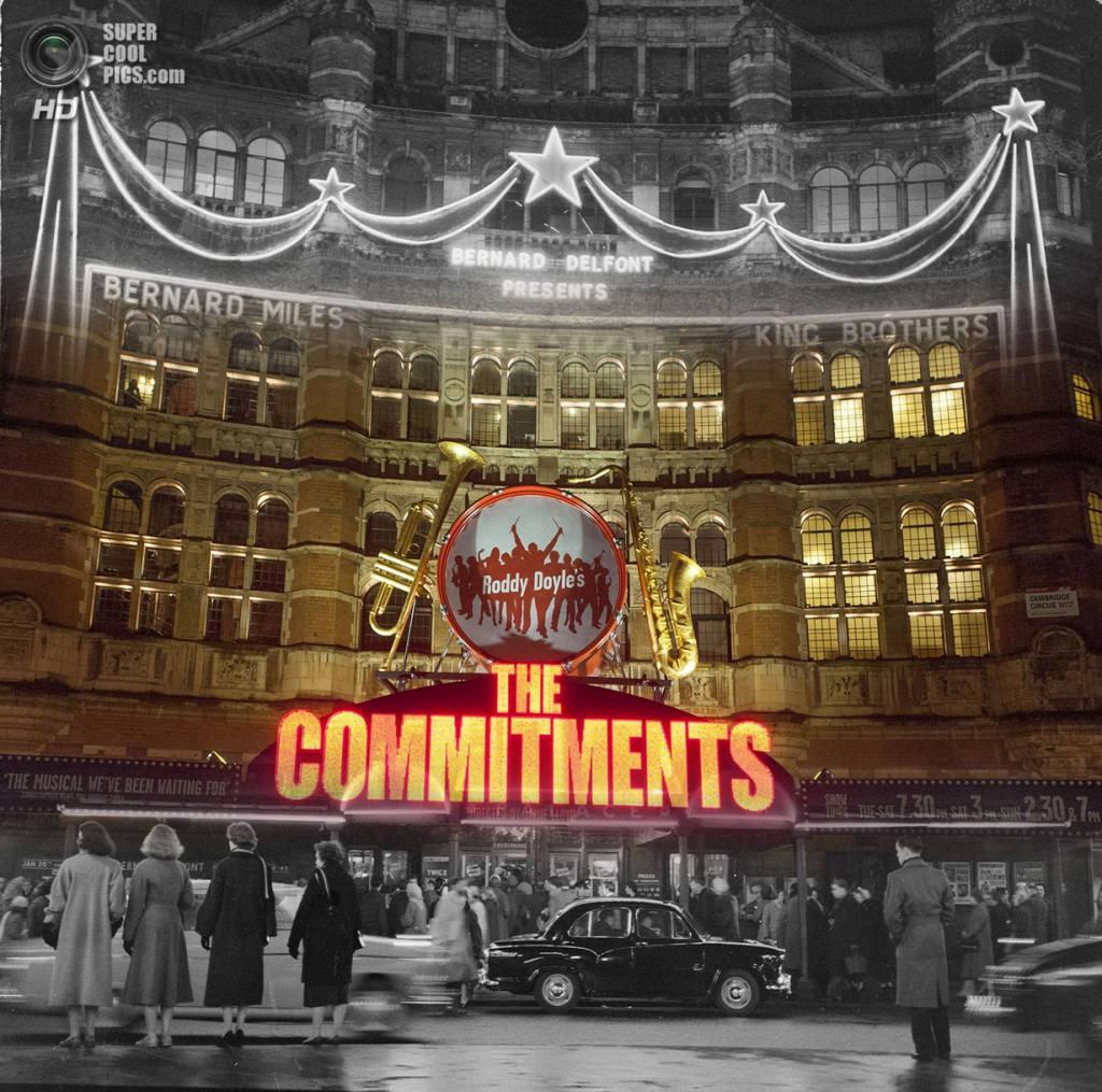 Великобритания. Лондон. 1958—2014. «Палас-театр» на Шафтсбери-авеню перед вечерним спектаклем. (Museum of London/Streetmuseum app)