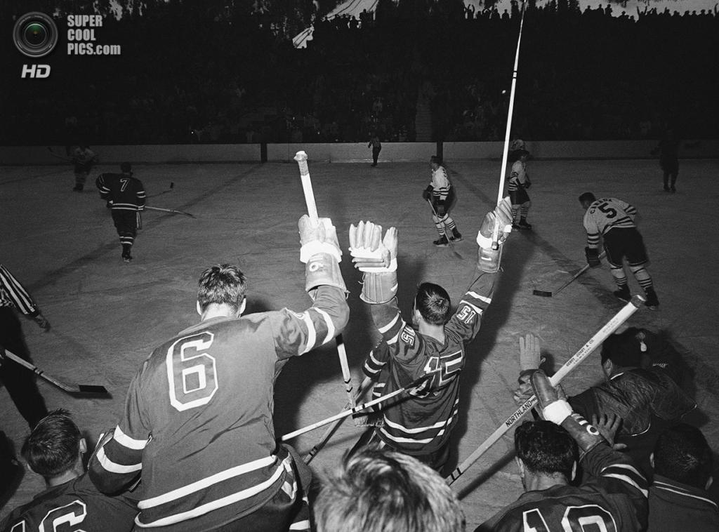 США. Скво-Вэлли, Калифорния. 25 февраля 1960 года. Хоккеисты сборной США празднуют победу над канадцами со счётом 2-1. (AP Photo/Dick Strobel)