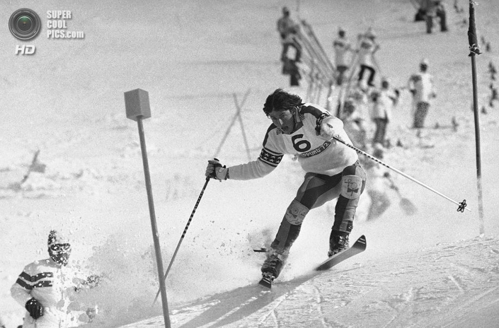 Япония. Саппоро, Хоккайдо. 13 февраля 1972 года. Тайлер Палмер из США на соревнованиях по слалому. (AP Photo)