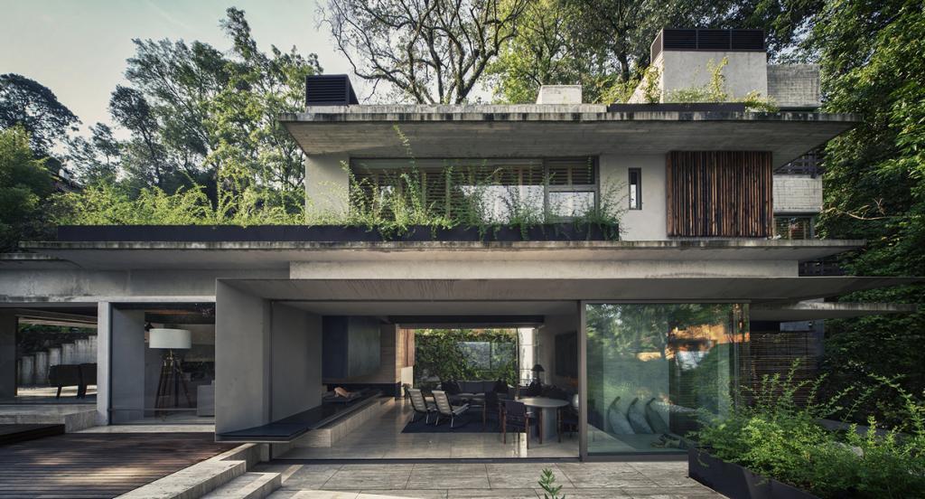 Мексика. Валье-де-Браво, Мехико. Частный дом House Maza, спроектированный CHK arquitectura. (Yoshihiro Koitani)