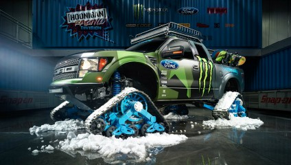Монструозный снегоход Кена Блока на основе Ford F-150 (8 фото)