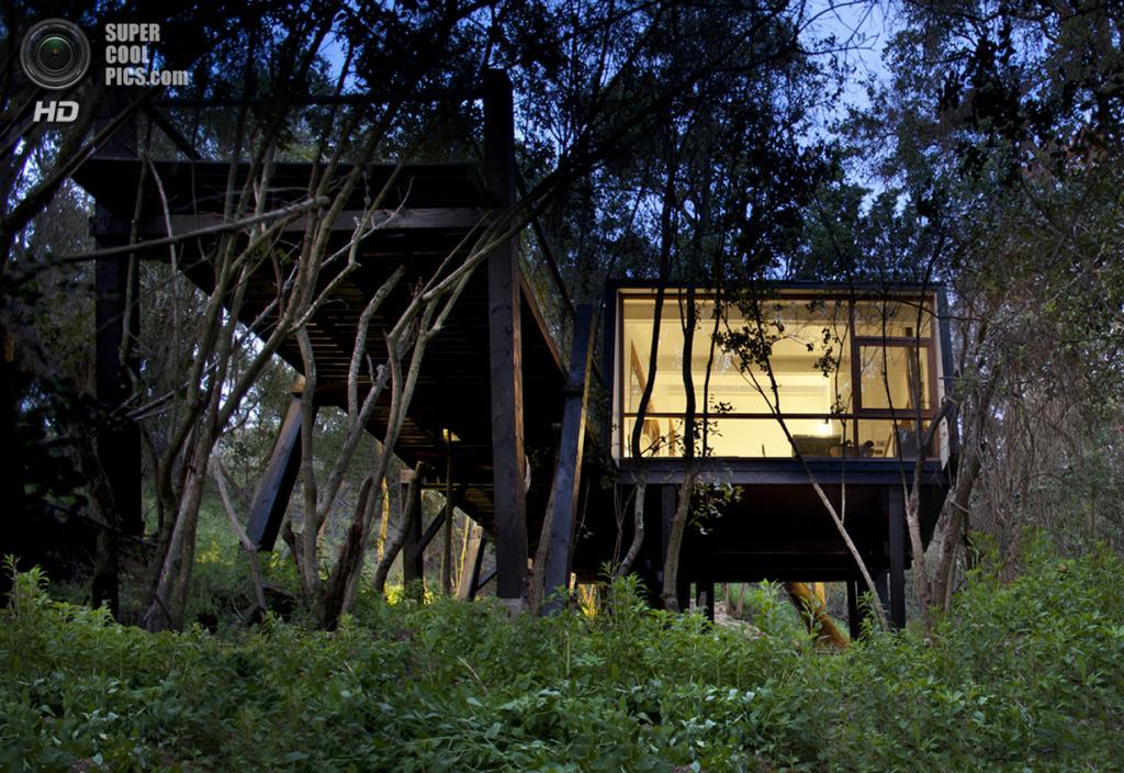 Чили. Куракави, Сантьяго. Частный дом Quebrada House, спроектированный UNarquitectura. (Natalia Vial)