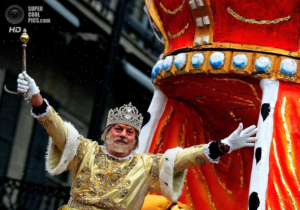 США. Новый Орлеан, Луизиана. 4 марта. Рекс, король «Марди-Гра». (Sean Gardner/Getty Images)