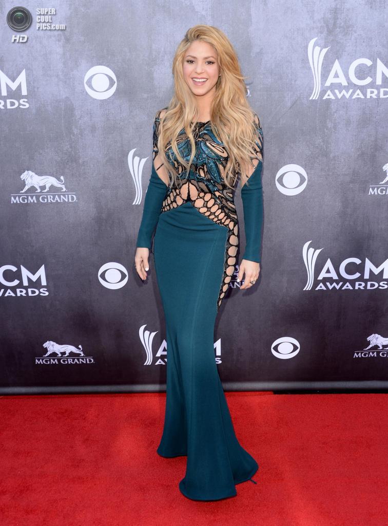США. Лас-Вегас, Невада. 6 апреля. Певица Шакира на красной дорожке ACM Awards 2014. (Jason Merritt/Getty Images)