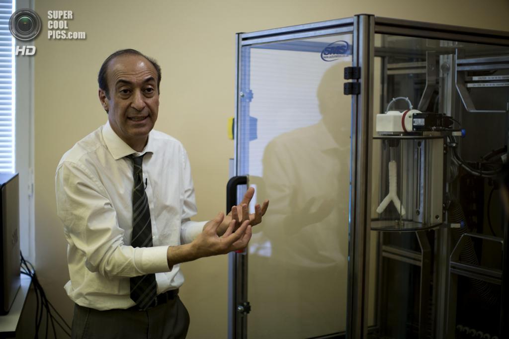 Великобритания. Лондон. 31 марта. Профессор Алекс Сейфалиан объясняет работу автоматизированной машины для придания формы, где находится искусственно выращенная трахея. (AP Photo/Matt Dunham)