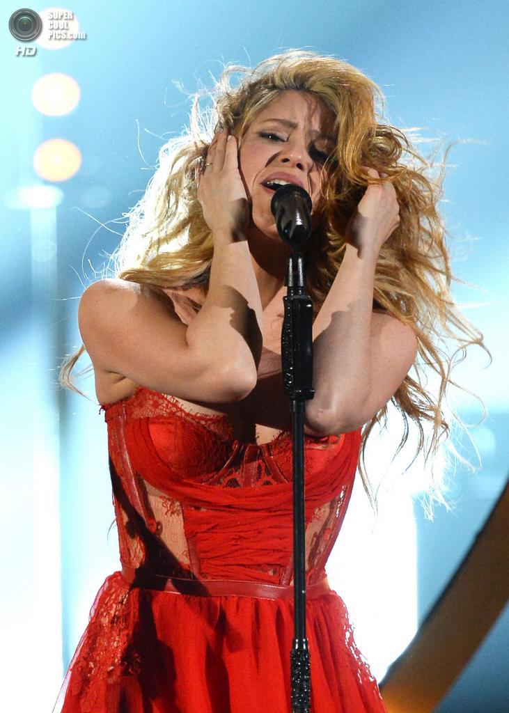 США. Лас-Вегас, Невада. 6 апреля. Выступление Шакиры на церемонии вручения премии ACM Awards 2014. (Ethan Miller/Getty Images)