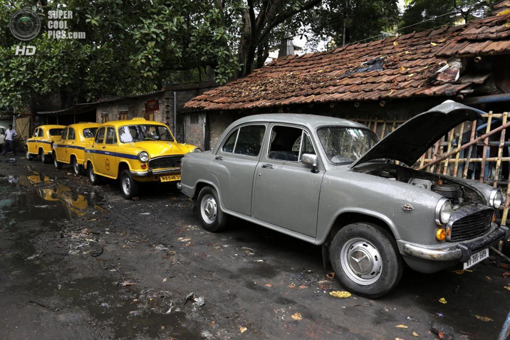 Индия. Калькутта, Западная Бенгалия. 26 мая. Hindustan Ambassador — три такси и один частный автомобиль — припаркованы в ряд. (AP Photo/Bikas Das)