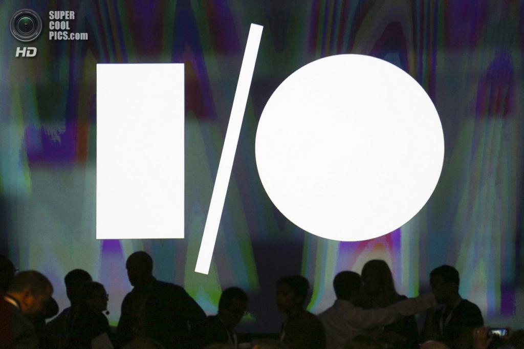 США. Сан-Франциско, Калифорния. 25 июня. Логотип Google I/O на стене «Москоне-центра». (REUTERS/Elijah Nouvelage)