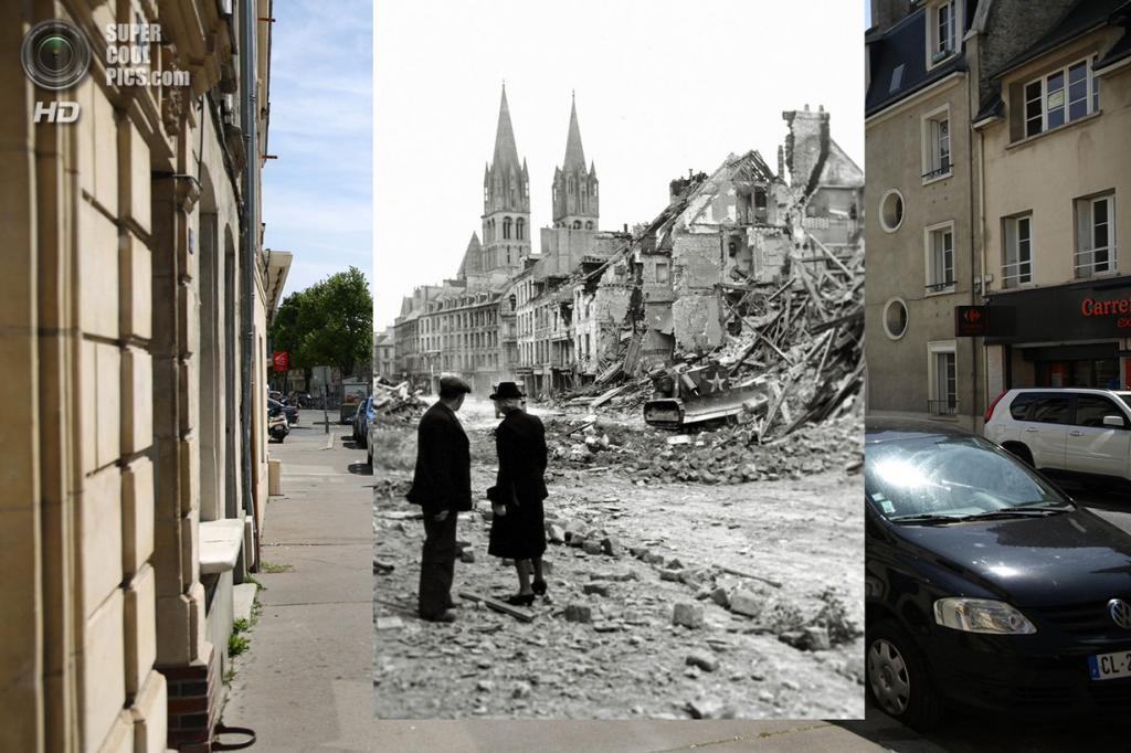 Пара наблюдает за тем, как канадский солдат на бульдозере расчищает дорогу у разрушенной церкви. (Peter Macdiarmid/Getty Images; Galerie Bilderwelt/Getty Images)