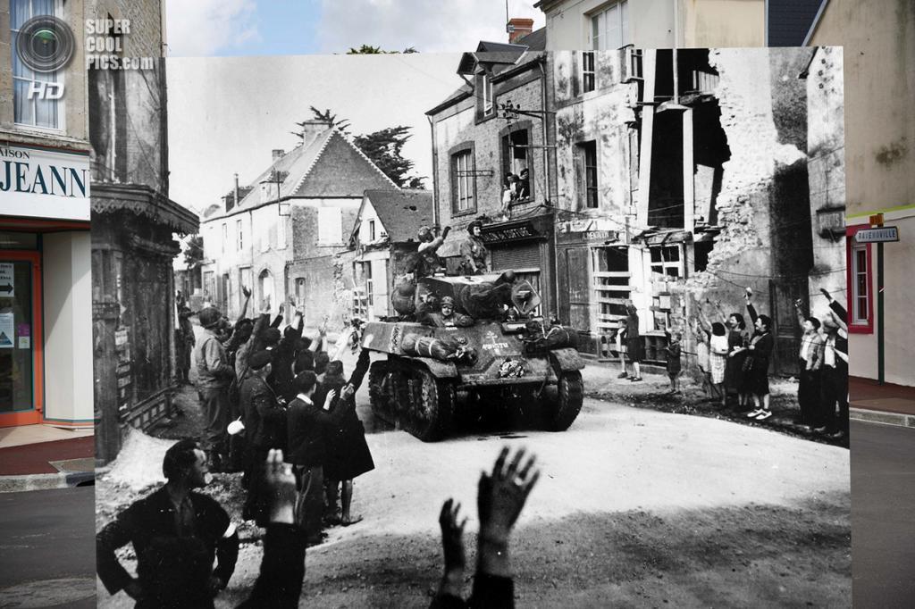 Жители Сент-Мер-Эглиза приветствуют колонну французских солдат. (Peter Macdiarmid/Getty Images; Galerie Bilderwelt/Getty Images)