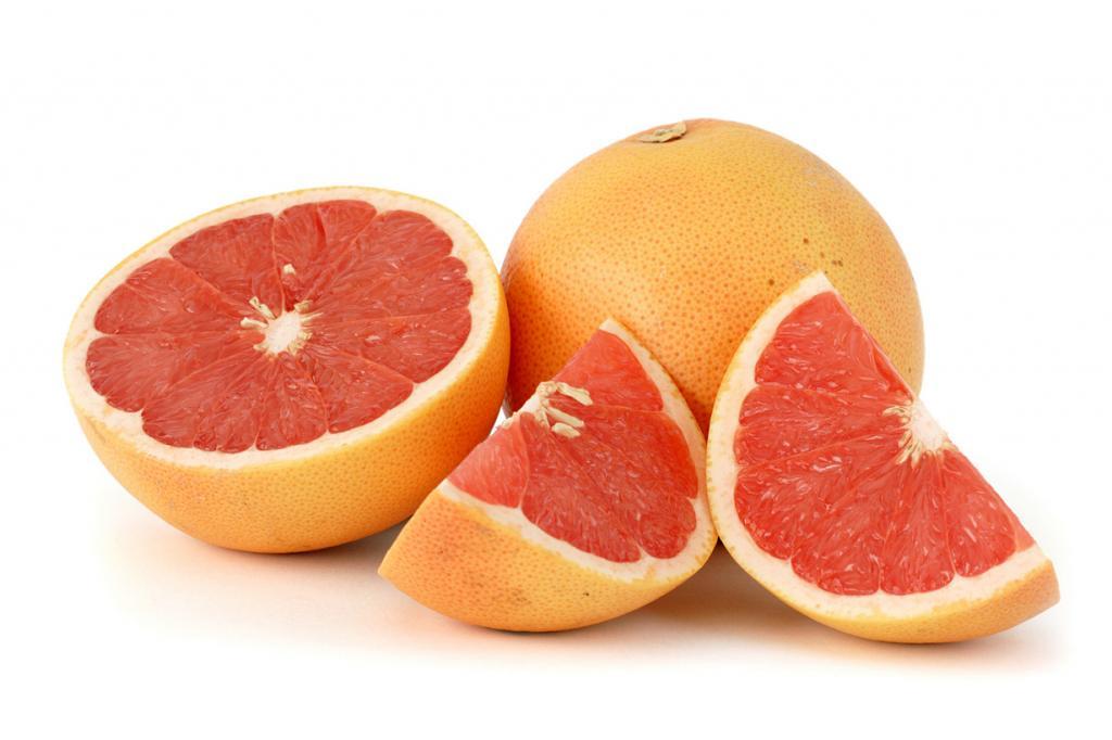 Грейпфруты. Плод содержит витамины B1, B2, B9, С, РР, а также микроэлементы — железо, калий, кальций, йод, магний, медь, натрий, фосфор.  (Citrus_paradisi_)