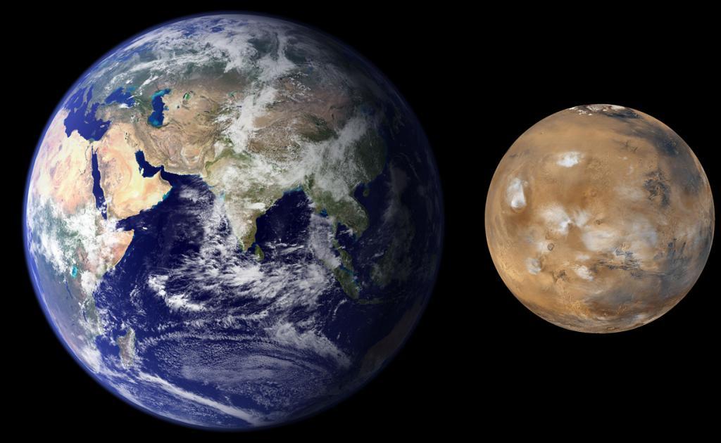 Марс практически наполовину меньше Земли. (NASA/JPL/MSSS)
