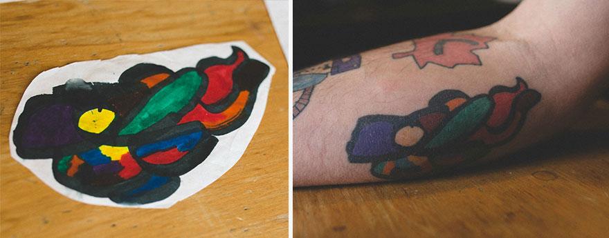 Это любимая татуировка Кита. Кай нарисовал «эскиз» в 8 лет.