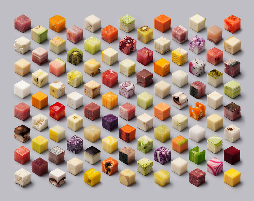 Художники превратили обычную еду в 98 идеальных кубиков, которые заставят страдать от голода любого перфекциониста